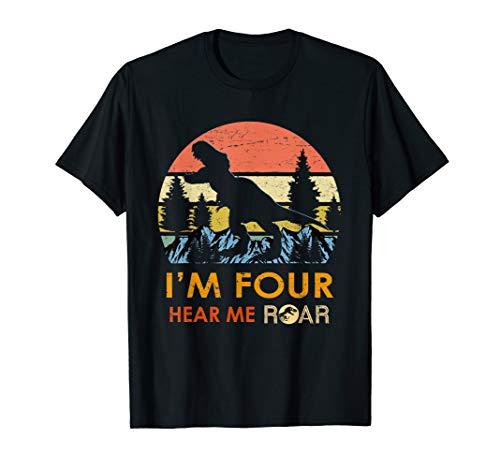 Kids I'm Four Hear me Roar 4th Birthday Dinosaur Shirts Boy ()