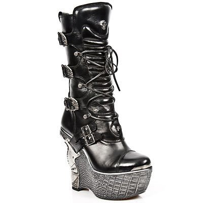 Rock Boots Lace Wedge Leather NEWROCK Ladies Black Heel PZ003 Up Gothic S4 New Oxn15xqa