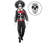 #LightningDeal Spooktacular Creations Mens Day of The Dead Mariachi Senor Adult Costume Set Halloween Dress Up Party, Dia de Los Muertos