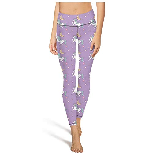 Womens high Waisted Yoga Pants Cute Unicorn Moon and Stars Fun ()