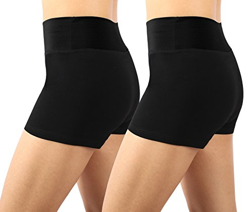 Neonysweets Womens Workout Yoga Short Pants Exercise Gym Shorts 2 Pack Black S