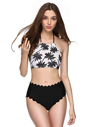 Verano Playa Women's Swimsuits High Neck Halter Bathing Suits Two Piece Floral Printed Bikini Set with Wave Edge, Black Leaf, Small (US 4-6)