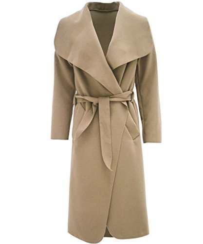 Womens Celebrity Inspired Oversized Waterfall Front Long Belted Coat (Beige Wool Coat)
