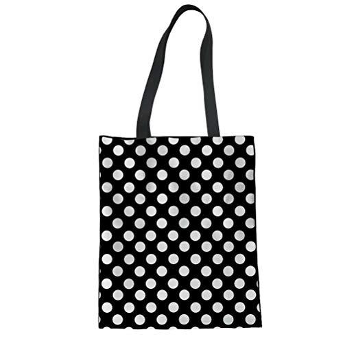 Black White Polka Dot Print Hobo Casual Tote Bag Canvas Daily Shoulder Handbag
