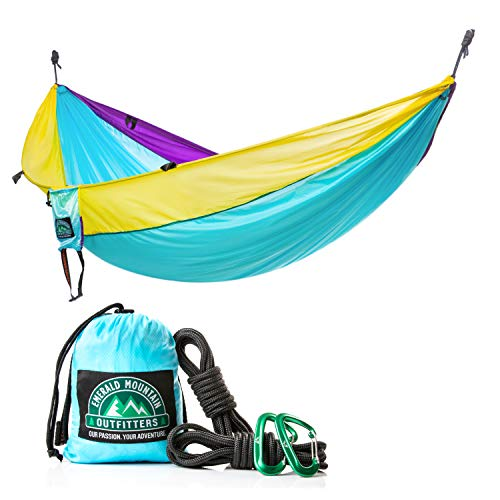 2 Person Camping Hammock by Emerald Mountain - Double Portable Hammock for Outdoor Use, Hiking, Backpacking, Travel, Sleeping, Survival Kit - Parachute Nylon, Snag-Proof Carabiners, 6 Gear -