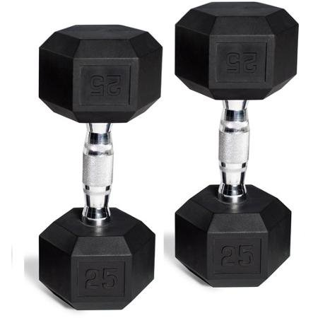 CAP Barbell Set of 2 Hex Rubber Dumbbell with Metal Handles, Pair of 2 Heavy Dumbbells Choose Weight (5lb, 8lb, 10lb, 15lb, 20 Lb, 25lb, 30lb, 35lb, 40lb, 50lb) (5lb x 2) by CAP Barbell (Image #3)