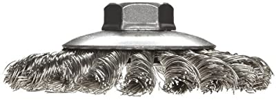Weiler Dualife Bevel Wire Wheel Brush, Threaded Hole, Stainless Steel 302, Partial Twist Knotted