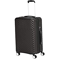 AmazonBasics Geometric Hard Shell Carry-On Rolling Spinner Suitcase Luggage - 24 Inch, Black