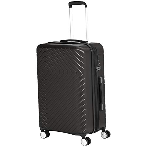 AmazonBasics Geometric Travel Luggage Expandable Suitcase Spinner with Wheels and Built-In TSA Lock, 27.2-Inch - Black