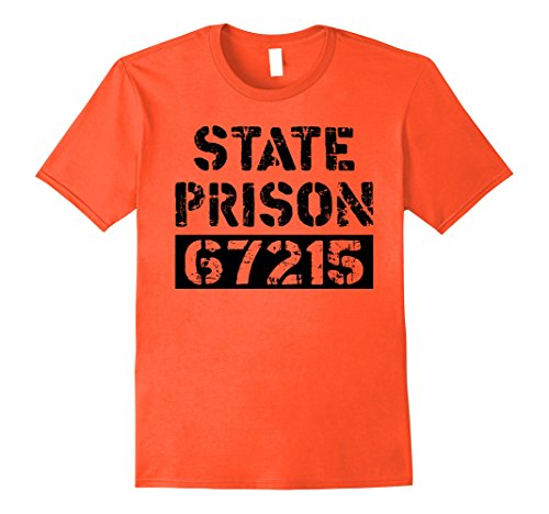 Jail Costumes For Halloween (Mens Prisoner Costume TShirt State Prison Jail Halloween Shirt XL Orange)