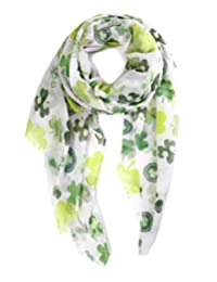 Funky Junque's St. Patricks Day Green Shamrock 4 Leaf Clover Party Holiday Scarf