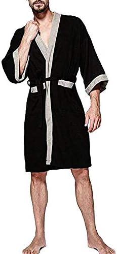 OGOUGUAN Mens Waffle Kimono Robe Cotton Lightweight Nightgowns Bathrobe Sleepwear