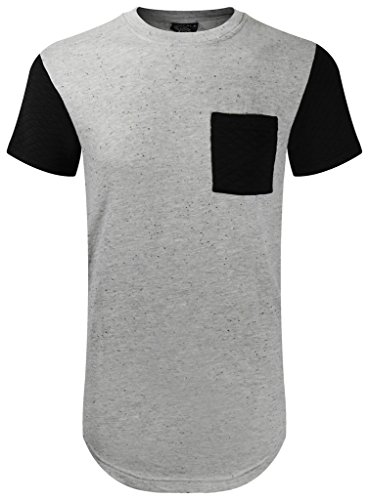 (UPSCALE Mens Short Sleeve T-Shirt w/ Quilted Pockets HEATHERGRAY L)