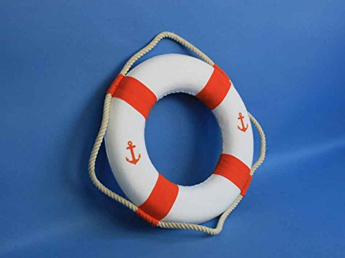 Classic White Decorative Anchor Lifering With Orange Bands 10''- Decorative Lifering- by Handcrafted Model Ships (Image #2)