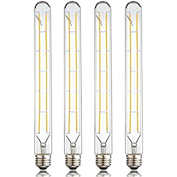 LEOOLS LED Tube Bulbs,T10 Tubular Edison Style LED Filament Bulb, 12W Dimmable Antique LED Bulb,E26 Base,Clear Glass,Warm White,2700K,1000LM(100W Equivalent),11.8in,Pack of 4