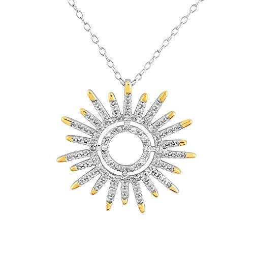 Sterling Silver Rhodium Plated White Topaz Sun Flower Pendant Necklace, 18