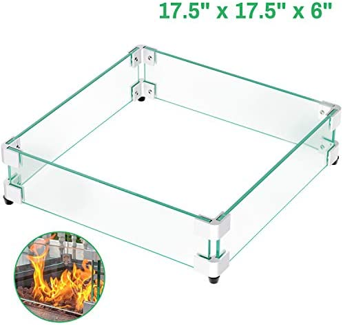 GASPRO 17.5 Square Fire Pit Glass Wind Guard, Clear Tempered Glass Wind Guard 5 16inch Thickness for 28 Square Fire Pit Table and 12 Square Drop-in Fire Pit Pan-17.5 x 17.5