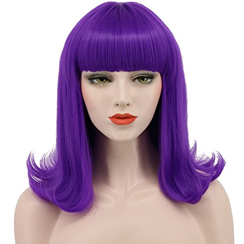 Katy Perry Wig Purple (Karlery Short Bob Hair Wig 14 Straight with Flat Bangs Synthetic Colorful Cosplay Daily Party Wig for Women Natural As Real Hair (Lavender Purple))