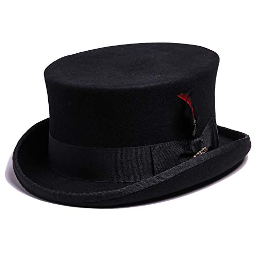 Bellmora Men's Wool Coachman and Classic Top Hat for Costume and Masquerade (Large, -