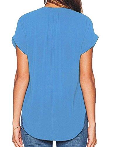 Bleu Clair Blouse Femmes Court PengGeng en Mousseline Lache Casual Shirt Manches Tops P07xqv7