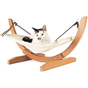 Vea pets Luxury Cat Hammock - Large Soft Plush Bed - Holds Small to Medium Size Cat or Toy Dog | Anti Sway | Attractive & Sturdy Perch | Easy to Assemble | Wood Construction 3