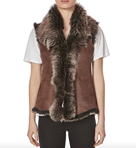 con A tonos Fonc oveja de de Chaleco Z Corto Calentador To piel Mujeres Suede Mangas Leather dorados Brown Chaleco Sin Cascada pqp0x8r