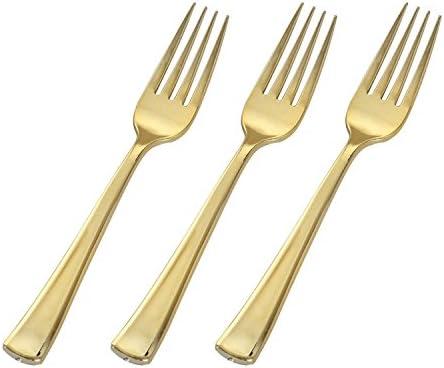 Pulido Oro Plástico Pesado cubiertos Combo Pack 24/Unidades ...