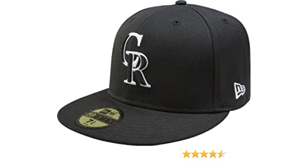 premium selection e8bf2 4fd7d Amazon.com   MLB Colorado Rockies Black with White 59FIFTY Fitted Cap, 7  1 2   Sports Fan Baseball Caps   Sports   Outdoors