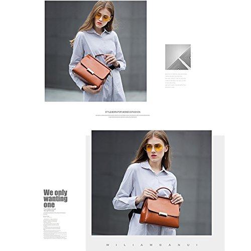 Yoome Genunie Leder Crossbody Handtasche Vintage Schultertaschen Top Griff Geldbörsen Tragetaschen für Frauen - Purple Grau