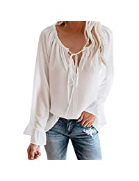 Roritadress Women's Sexy Tops,Off Shoulder Long Sleeve Solid Tie Knot Blouse Casual Tops Shirt,Adjustable Elastic Shoulder Strap
