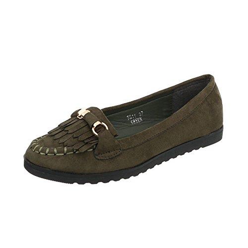 Ital-Design Women's Loafer Flats Flat Slippers Olive TS11 0KKVMz6R