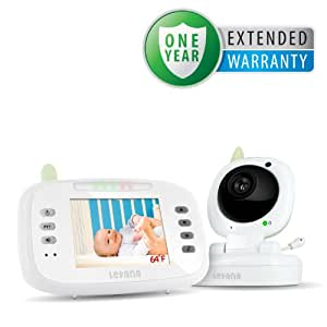 "Levana LV-TW502 Safe N' See Advanced 3.5"" Digital Video Wireless Baby Monitor with Talk to Baby Intercom and Remote Controlled Lullabies & Bonus 1 Year Warranty"