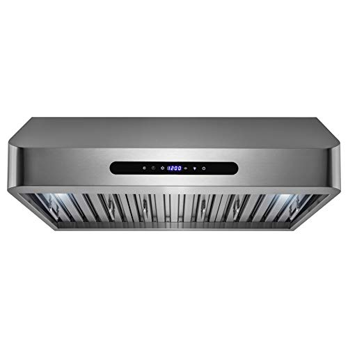 AKDY 30' Under Cabinet Stainless Steel Kitchen Cooking Fan Range Hood Gas Sensor Remote Control Stove Vent