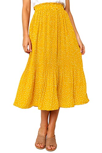PRETTYGARDEN Women's Fashion High Elastic Waist Polka Dot Printed Pleated Midi Vintage Skirts with Pockets (Yellow, Medium)