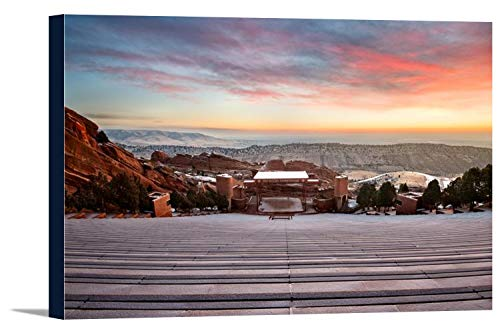 Denver, Colorado - Red Rock Amphitheater at Sunrise A-9006228 (18x12 Gallery Wrapped Stretched Canvas)