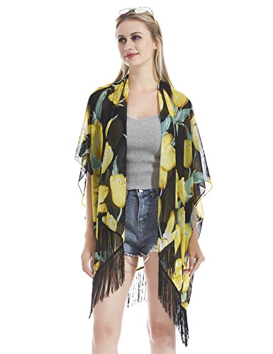 Tulip Tassel - Hifand Women Bathing Suit Cover up Beach Bikini Swimsuit Swimwear Kimono Cardigan Tassel Vintage Tulip Flower Floral