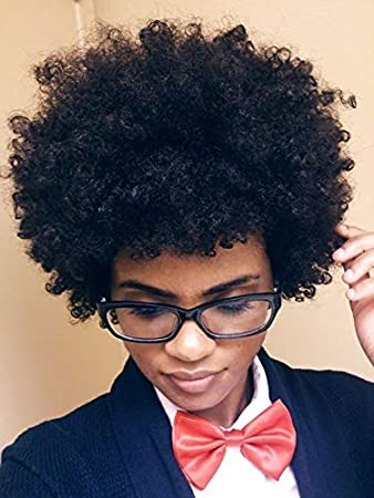 Amazon.com : Naseily Short Black Afro Kinky Curly Synthetic ...