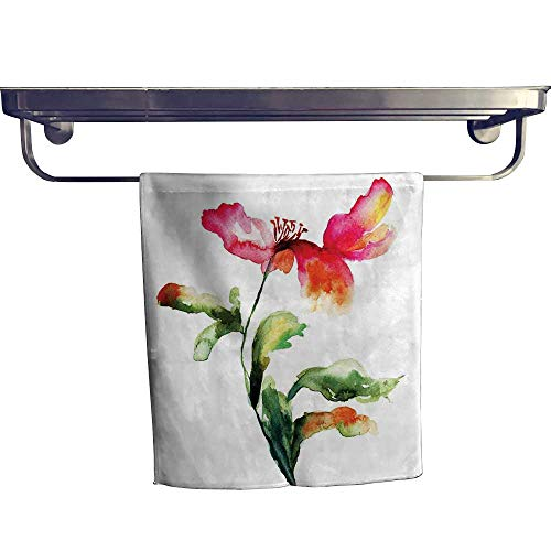 Sport Towels Watercolor Flower,Shaded Single Poppy Flowering Plant Muse in The Nature Earth Divine Grace,Red Green White Quick Dry Towel W 24