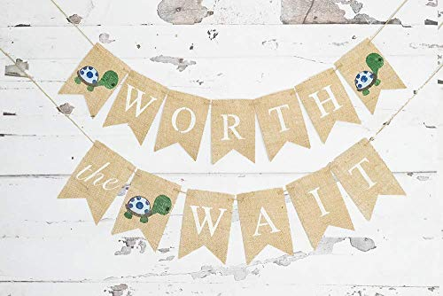 Turtle Baby Shower (Worth The Wait Turtle Banner | Baby Shower or Gender Reveal Party)