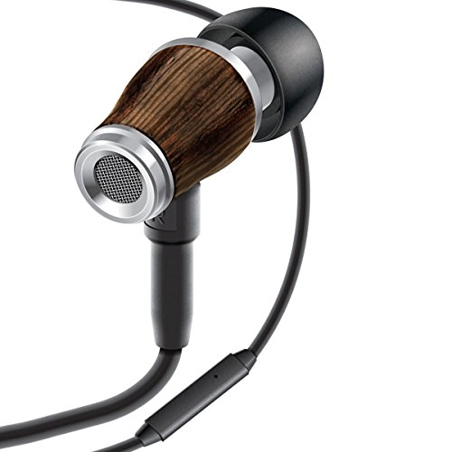 WD Premium Dark Walnut Wood Earbud In-Ear Headphones with Built In Microphone by GOgroove - Noise Isolating & In-Line Call / Music Controls - Includes Drawstring Hemp Bag (G10 Driver Draw)