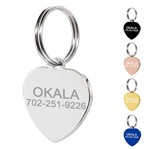 Amlion Personalized Engraved Dog Tags, Custom Dog Cats Tags, Stainless Steel Pet Id Tags, Double-Sided Engraved, Bone, Rectangle, Round, Heart Shape(5 Colors) (Regular Heart, Silver) ()