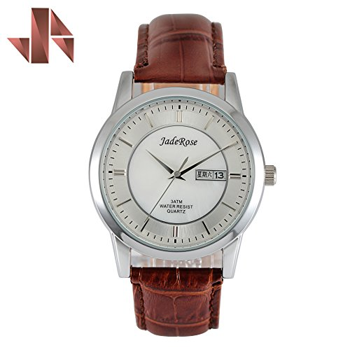 JADEROSE Man Wrist Watch with Date-Day White MOP Dial Soft Genuine Leather (Leather White Mop Dial)