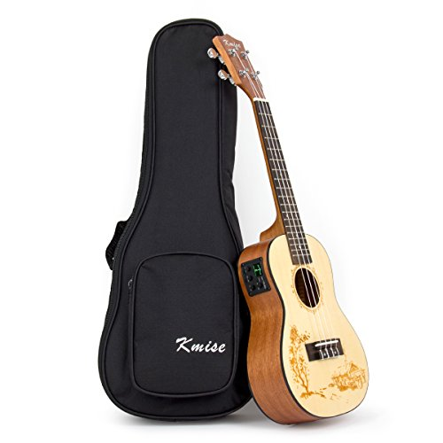 Kmise Concert Electric Ukulele Solid Spruce Ukelele Uke Acoustic Hawaii 4 String Guitar 18 Frets 21 inch with 3 Band EQ with Bag by Kmise