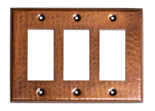 Monarch Pure Copper Hammered Triple Rocker Wall Plate/Switch Plate by Monarch Abode