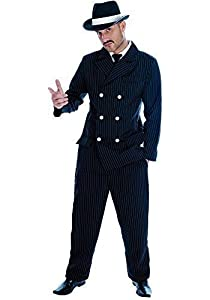 Mens Black Pinstripe 1920s Gangster Suit Bugsy Malone Fancy Dress ...