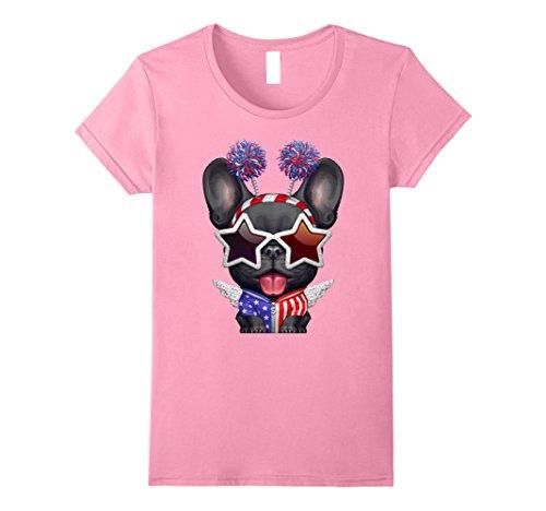 [Womens Black French Bulldog Independence Day T-shirt Medium Pink] (Frenchy Pink Ladies Costume)