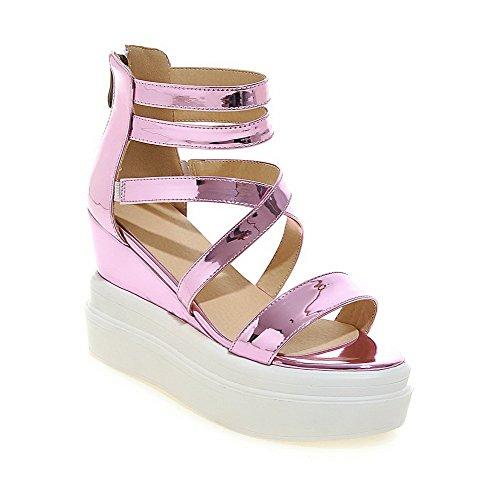 Amoonyfashion Mujeres High-heels Solid Zipper Material Suave Sandalias Open-toe Rosa
