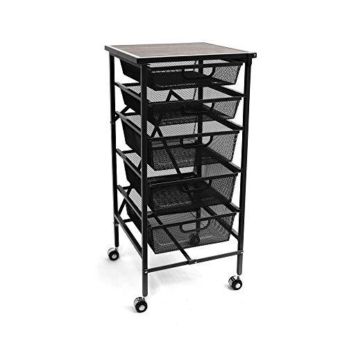 Origami Wheeled Folding Steel 5 Drawer Mesh Storage Kitchen Cart Wood Top, Black (Origami Sewing Table)