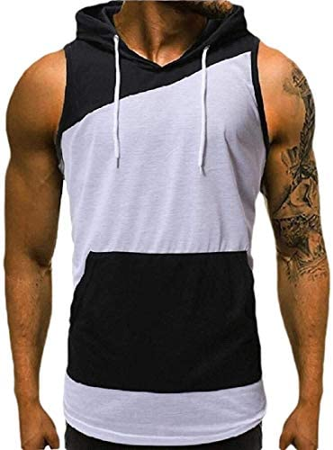 Mens Tank Tops Top Fitness Workout Gym Trainning Hoodies Hoodies Patchwork Workout Sleeveless Cut Off Vests Muscle
