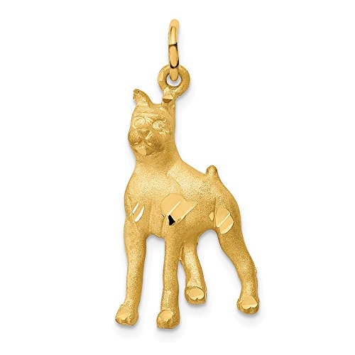 14k Yellow Gold Solid Boxer Pendant Charm Necklace Animal Dog Fine Jewelry Gifts For Women For Her